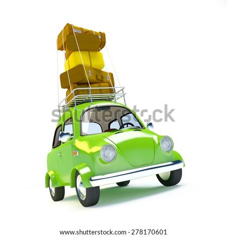 small and cute green retro trip car on white background