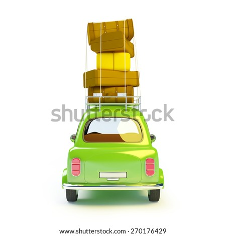 small and cute green retro trip car on white background. Back view - stock photo