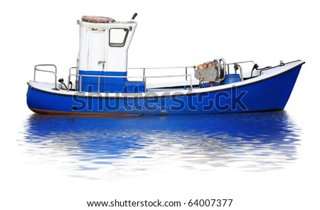 Small and funny boat isolated on a white background with water reflection. - stock photo