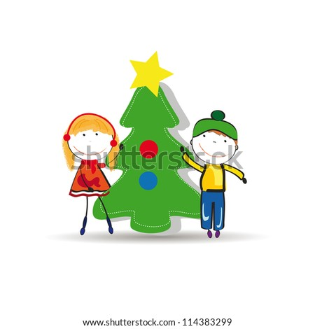 Small and happy kids in winter with christmas tree - stock photo