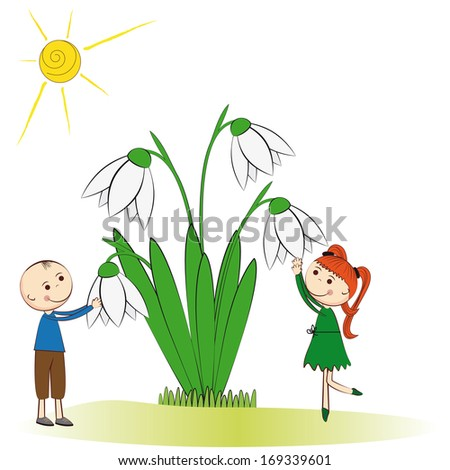Small and smile boy and girl in spring garden - stock photo