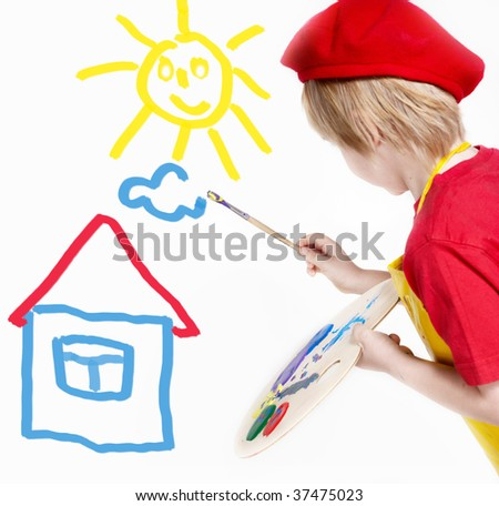 Small artist in a red beret drawing the dream - stock photo
