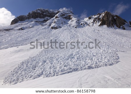 Small avalanche bottom view, San Simone Ski Resort, Italy. - stock photo