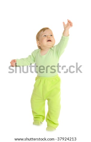 Small baby in green - stock photo