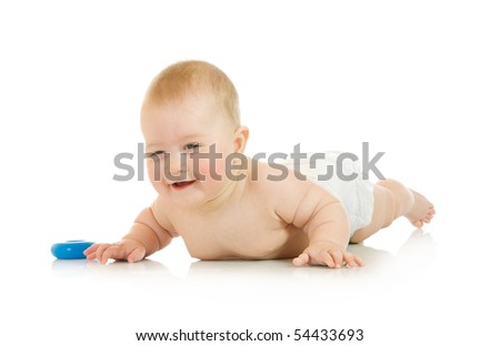 Small baby with a toy isolated over white
