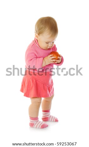 Small baby with apple #3 isolated - stock photo