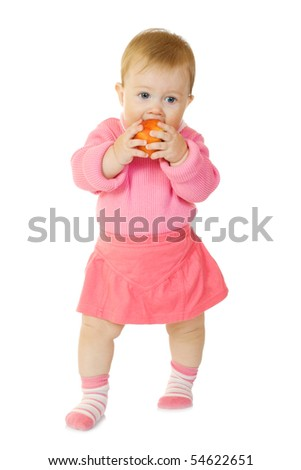 Small baby with apple #6 isolated on white - stock photo