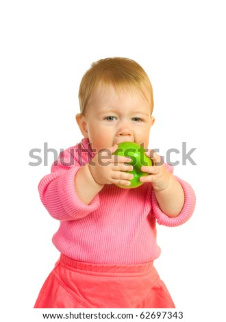 Small baby with apple #7 isolated on white - stock photo