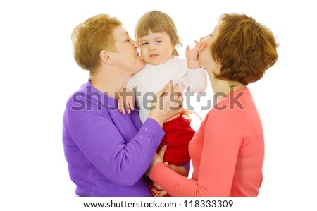 Small baby with mother and grandmother isolated - stock photo