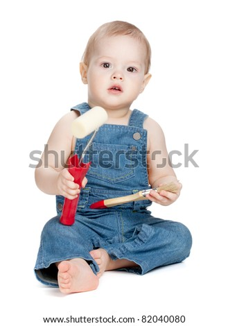 Small baby worker with paint brush and roller. Isolated on white - stock photo