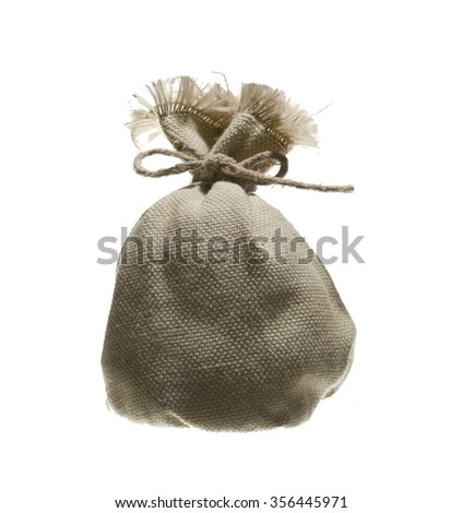 small bag jute isolated on white background  - stock photo
