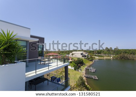 Penthouse apartment stock images royalty free images for Balcony overlooking city