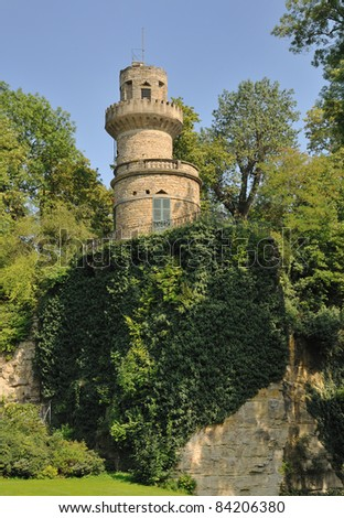 Small baroque castle located on a cliff in Ludwigsburg - Germany - stock photo