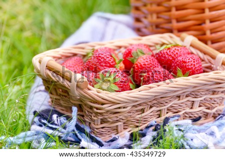 Small basket with strawberries for picnic idea
