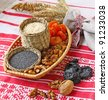 Small basket with wheat porridge which is prepared on Christmas Eve Kutya is a traditional food on Christmas Eve. - stock photo