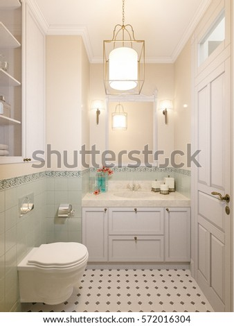 Small Bathroom In Luxury Home Classic Traditional Style With Marble Beige And Green Tile