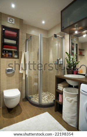 small bathroom in the flat - stock photo