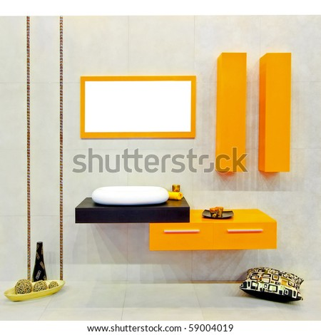 Small bathroom with yellow details and ornaments - stock photo