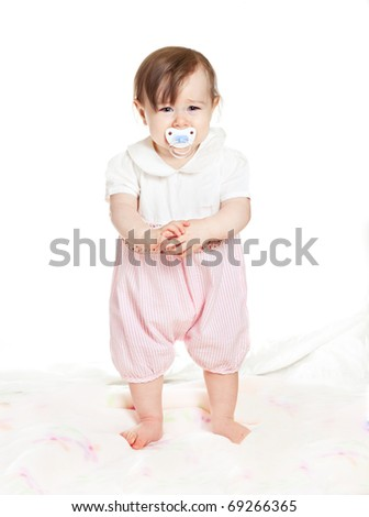 small beautiful baby girl isolated on white - stock photo