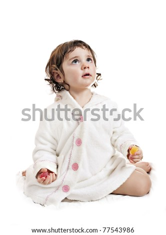 small beautiful baby girl with marmalade; isolated on white - stock photo