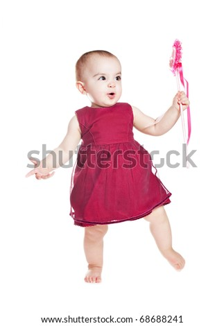 small beautiful baby girl with valentines card isolated on white