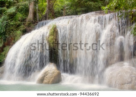 Small beautiful waterfall in Thailand - stock photo