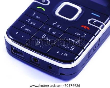 Small black classical mobile phone on white background