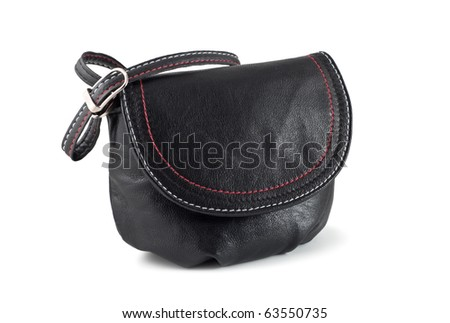 Small black handbag. Isolated on white background. - stock photo