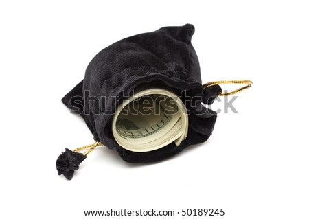 small black leather empty open bag case whith dollar - stock photo