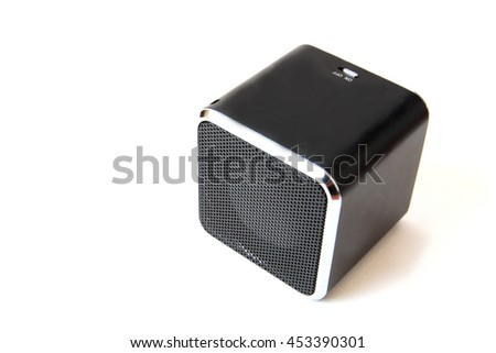 small black loudspeaker on white background