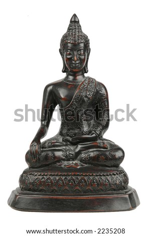 Small black/red buddha statue carved from wood, separated/isolated on white background. - stock photo