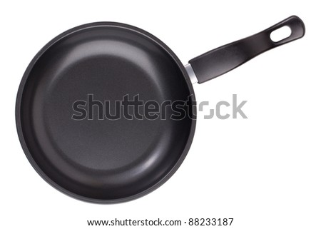 Small black round griddle on a white background - stock photo