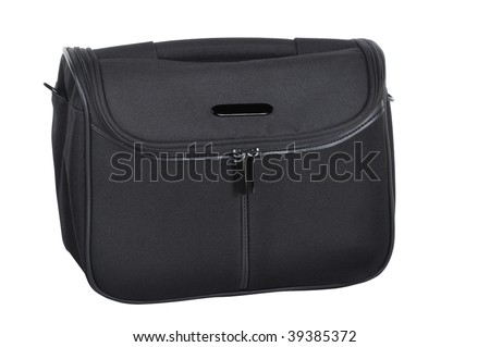 small black travel bag on white