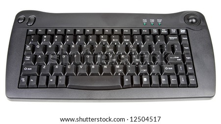 Small Black Wireless Computer Keyboard with Track Ball