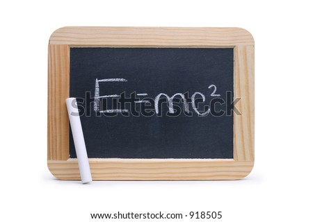 Small blackboard with the famous Einstein's E=mc&#178 theory of relativity. Isolated on white, contains clipping path outline. - stock photo
