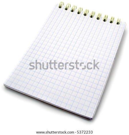 small blank notepad isolated on white background - stock photo