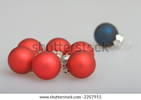 Small blue and red christmas balls to decorate a tree