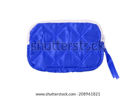 small blue bag on white background - stock photo
