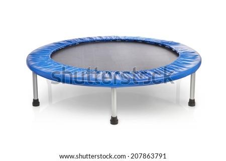 small blue fitness trampoline - stock photo