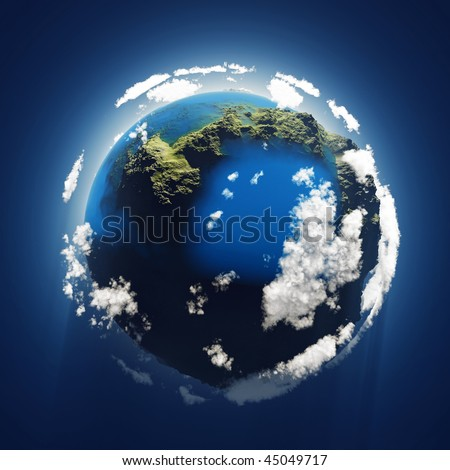 small blue planet, aerial view - stock photo
