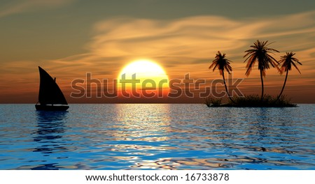 Small boat and  small island with coconut palms - stock photo