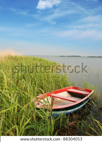 small boat at shore
