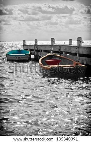 Small boat dock in the Cayman Islands, in Black and White tone - stock photo