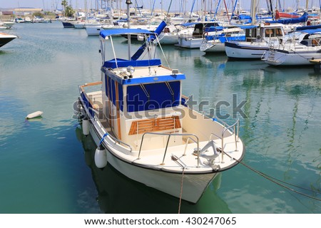 small boat on sea moorage