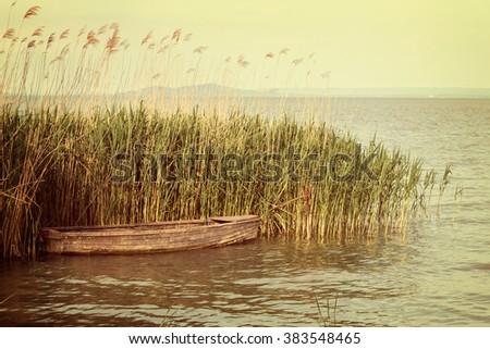 Small boat on the lake Balaton of Hungary - stock photo