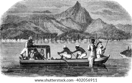 Small boat passing through Rio de Janeiro, vintage engraved illustration. Magasin Pittoresque 1847.