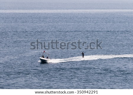 Small boat, ride a water skier