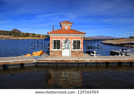 Small boating dock in Lake Mead - stock photo