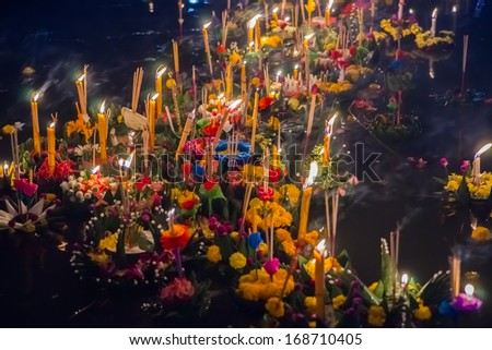 Small boats with candles and flowers are given for Thailands traditional Loy Krathong Festival - stock photo