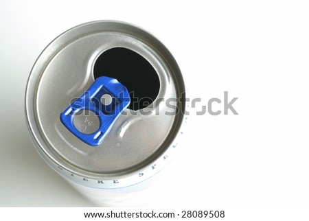 Small bottle of beer seen top on white bottom - stock photo